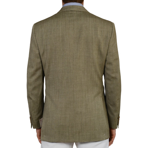 D'AVENZA Roma Handmade Green Wool-Silk Blazer Jacket EU 52 NEW US 42