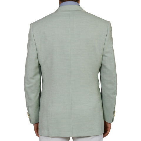 D'AVENZA Roma Handmade Mint Cashmere Cotton Blazer Jacket EU 52 NEW US 42