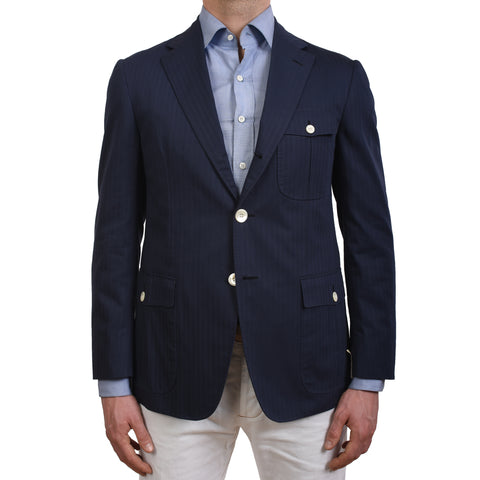 D'AVENZA Roma Handmade Navy Blue Cotton Blazer Jacket EU 50 NEW US 40