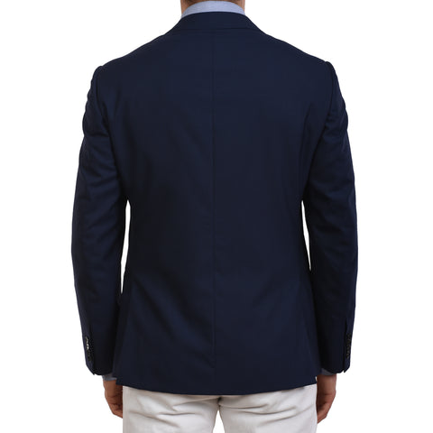 D'AVENZA Roma Handmade Navy Blue Wool Blazer Jacket EU 50 NEW US 40