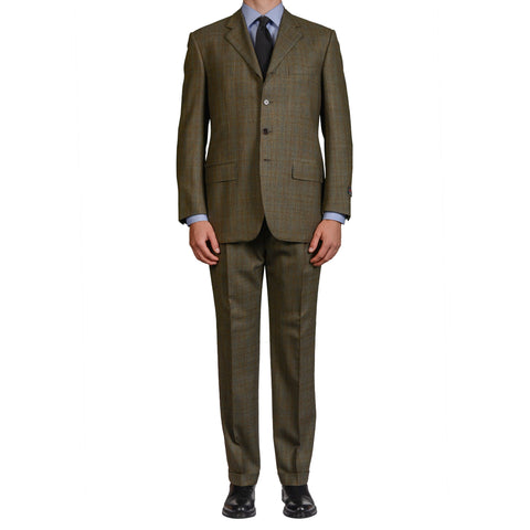 D'AVENZA Roma Handmade Olive Plaid Wool 4 Button Suit EU 52 NEW US 42