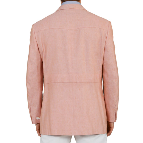 D'AVENZA Roma Handmade Pink Silk-Linen-Cotton Blazer Jacket EU 52 NEW US 42