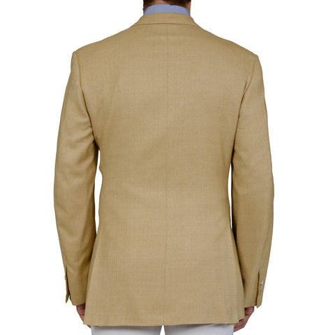 D'AVENZA Roma Handmade Tan Silk Wool Super 100's Blazer Jacket EU 52 NEW US 42