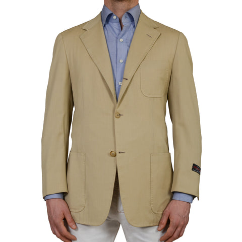 D'AVENZA Roma Handmade Tan Wool Cotton Blazer Jacket EU 50 NEW US 40