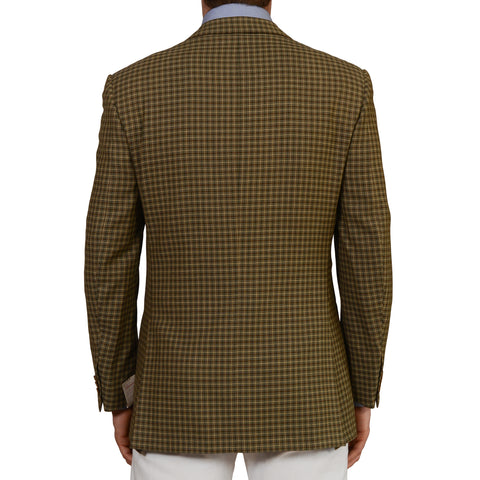 "D'AVENZA Roma ""Imperia"" Handmade Olive Plaid Wool Blazer Jacket EU 50 NEW US 40"