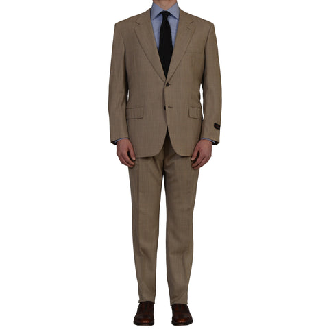 "D'AVENZA Roma ""Intra"" Handmade Beige Wool Suit EU 56 NEW US 46"