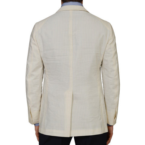 D'AVENZA Roma Ivory Striped Silk Blend Unlined Summer Blazer Jacket 48 NEW US 38
