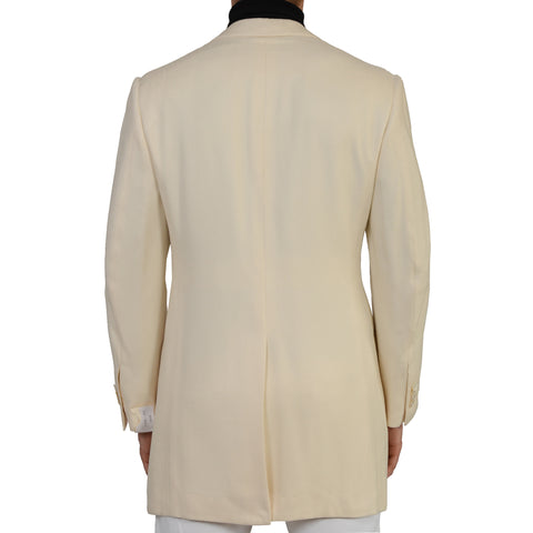 "D'AVENZA Roma ""Karim"" Handmade Off-White Silk Twill Coat NEW"