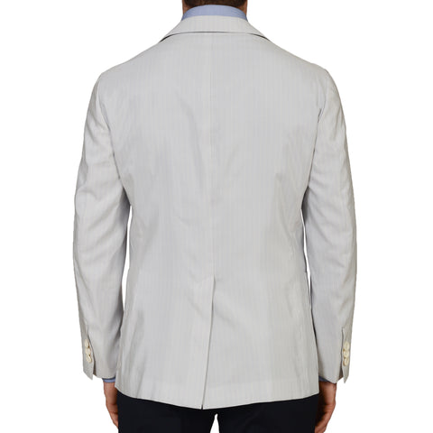 D'AVENZA Roma Light Pale Blue Silk Blend Unlined Blazer Jacket NEW