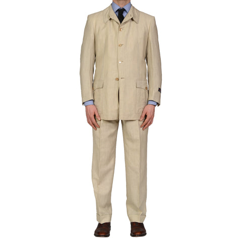 "D'AVENZA ""Sahariana"" Handmade Beige Wool Linen 5 Button Suit EU 50 NEW US 40"