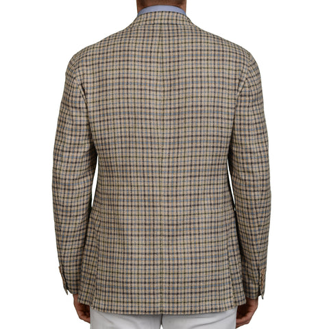 LORO PIANA Beige Plaid Silk Unlined Blazer Soft Jacket EU 50 NEW US 40