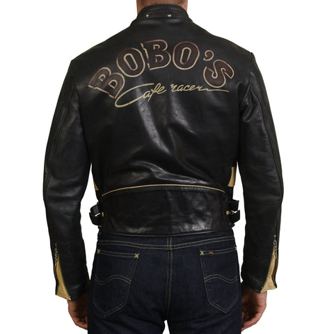 THEDI LEATHERS BOBO'S Black Leather Cafe Racer Jacket Perfecto NEW S Horsehide