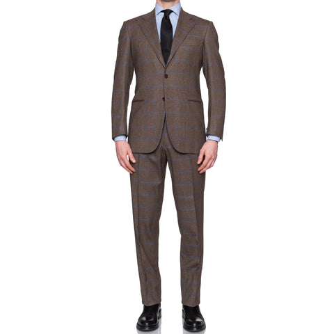 Sartoria CESARE ATTOLINI Brown Windowpane Wool-Angora Suit EU 48 NEW US 38