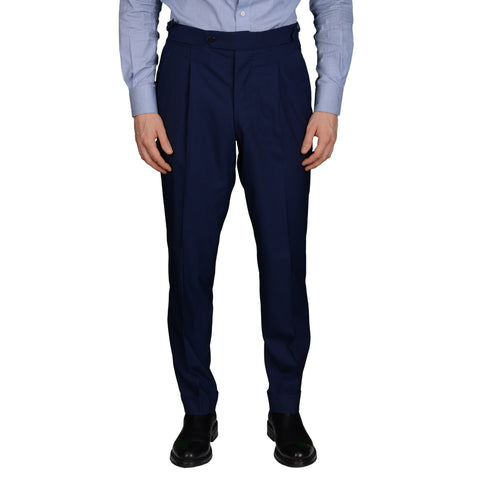 AMBROSI Napoli Bespoke Blue VBC Wool Super 120's SP Dress Pants 50 NEW US 34