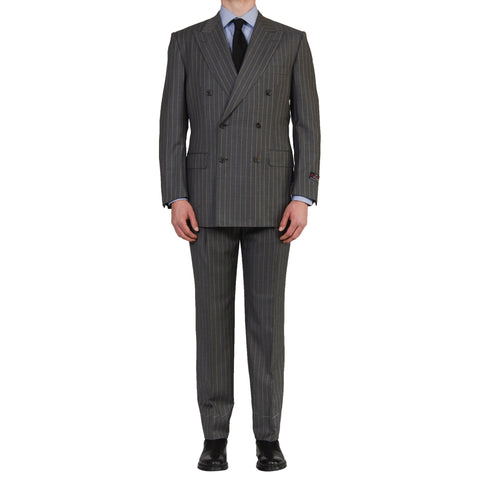 D'AVENZA Roma Handmade Gray Wool Super 150's DB Suit EU 54 NEW US 44