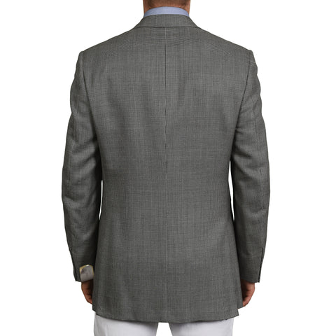 D'AVENZA Roma Handmade Gray Wool Super 120's Silk Blazer Jacket EU 50 NEW US 40