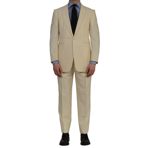 GARY ANDERSON by D'Avenza Cream 1 Button Shawl Collar Tuxedo Suit NEW