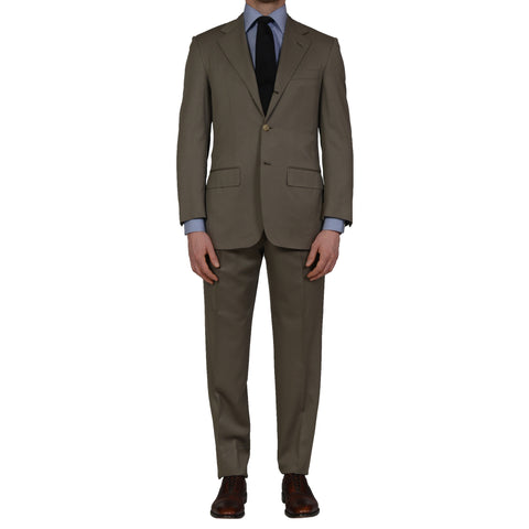 D'AVENZA Roma Handmade Olive Wool Super 130's Suit NEW