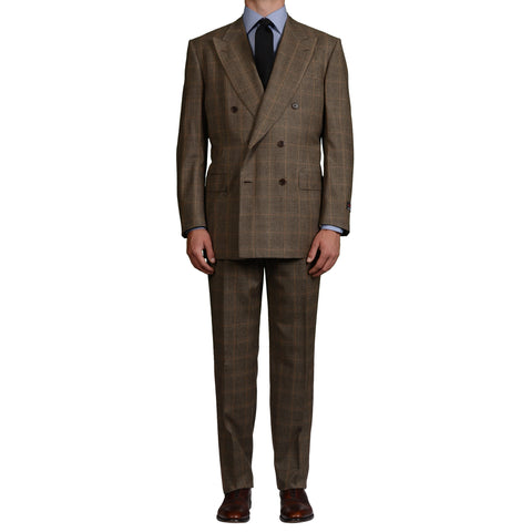 D'AVENZA Roma Handmade Taupe Plaid Wool Super 100's DB Suit EU 54 NEW US 44