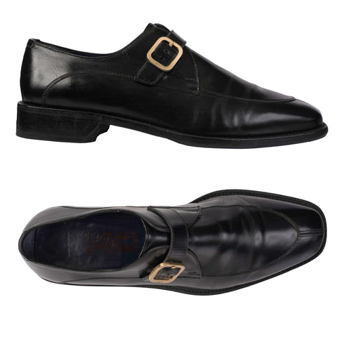 SALVATORE FERRAGAMO Black Leather Single Monk-Strap Dress Shoes US 11.5