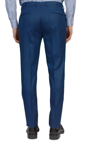 INCOTEX (Slowear) Solid Blue Wool Flannel Flat Front Slim Fit Pants NEW