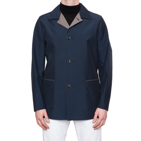 CESARE ATTOLINI Napoli Blue Wool Blend Unlined Rain Car Coat EU 50 NEW US 38 40