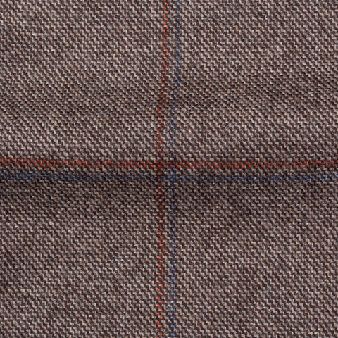 CESARE ATTOLINI Napoli Brown Windowpane Wool Cashmere Blazer Jacket 50 NEW US 40