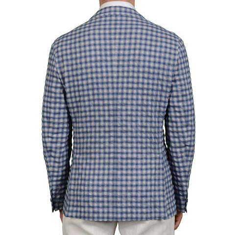 "BOGLIOLI Milano ""Dover"" Blue Plaid Wool-Linen-Silk Seersucker Jacket EU 50 NEW US 40"