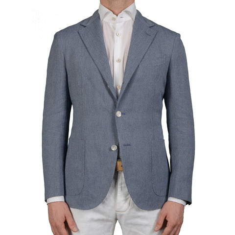 "BOGLIOLI Milano ""Dover"" Blue Cotton Linen Unlined Blazer Jacket EU 50 NEW US 40"