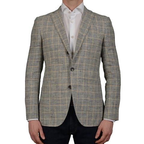 "BOGLIOLI Milano ""Hampton"" Beige Plaid Silk Linen Blazer Jacket EU 48 NEW US 38"