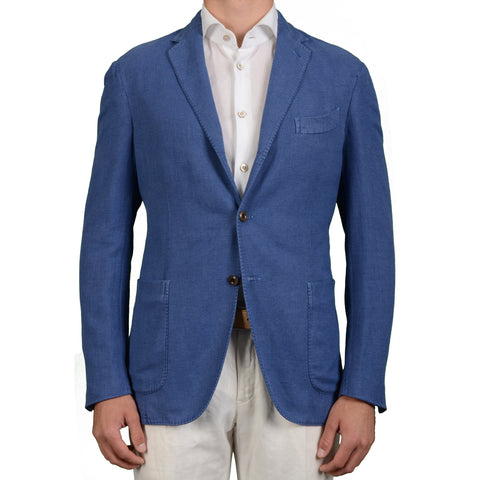 "BOGLIOLI Milano ""Coat"" Blue Hopsack Cotton Linen Unlined Blazer Jacket NEW"
