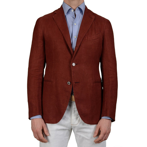 "BOGLIOLI Milano ""K. Jacket"" Crimson Linen Cotton Unlined Blazer Jacket 50 NEW US 40"
