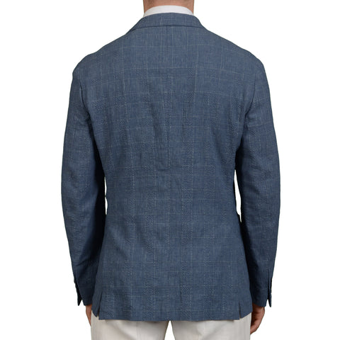 "BOGLIOLI Milano ""Dover"" Blue Plaid Wool-Linen-Silk Seersucker Blazer Jacket NEW"