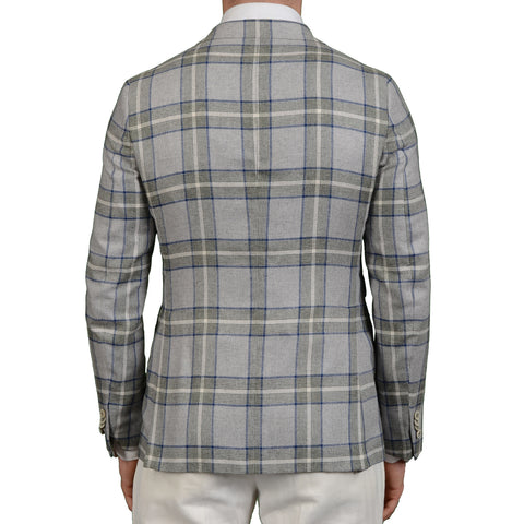 "BOGLIOLI Milano ""York"" Gray Plaid Silk Blazer Jacket Sports Coat EU 48 NEW US 38"