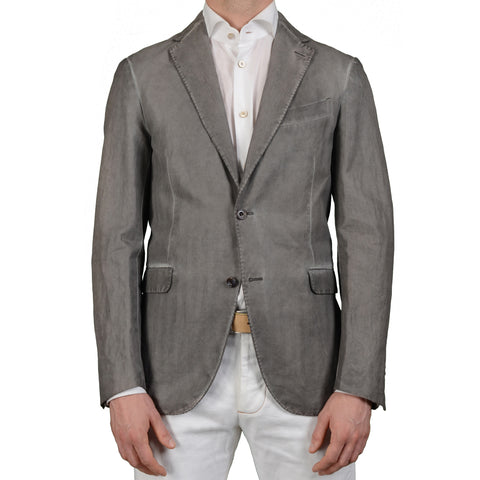 "BOGLIOLI Milano ""Eton"" Gray Herringbone Cotton-Linen Waxed Jacket 48 NEW US 38"