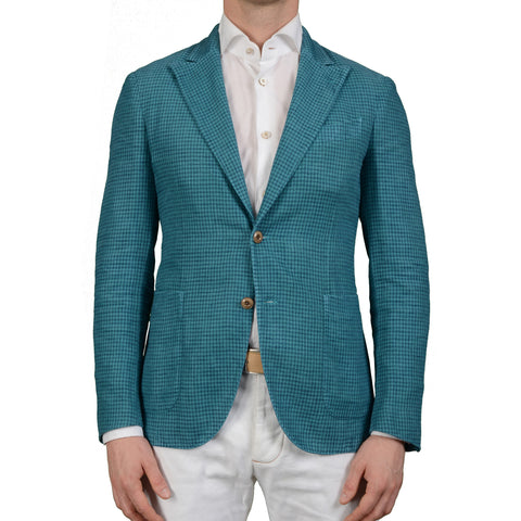 "BOGLIOLI Milano ""Coat"" Blue Houndstooth Cotton Linen Peak Lapel Jacket 48 NEW 38"