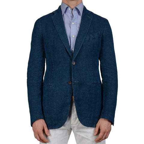 "BOGLIOLI Milano ""Coat"" Blue Linen Unlined Blazer Jacket EU 50 NEW US 40"
