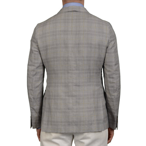 "BOGLIOLI Milano ""York"" Gray Plaid Linen-Cashmere-Silk Blazer Jacket EU 50 NEW US 40"
