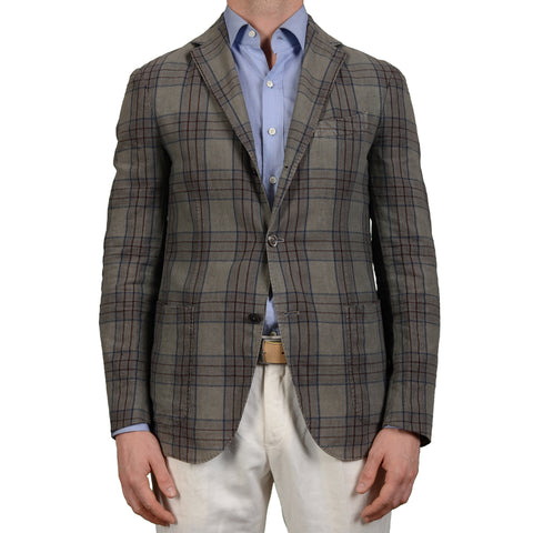 "BOGLIOLI Milano ""K. Jacket"" Gray Plaid Cotton Unlined Blazer Jacket EU 48 NEW US 38"