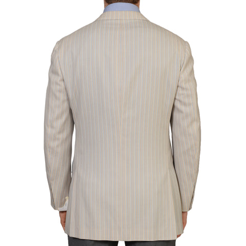 D'AVENZA Handmade Beige Striped Cashmere Silk Lined Jacket EU 50 NEW US 40