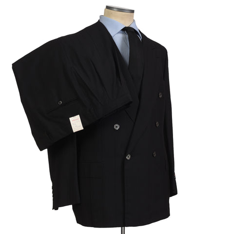 D'AVENZA Roma Handmade Black Wool Super 100's DB Suit EU 58 NEW US 48