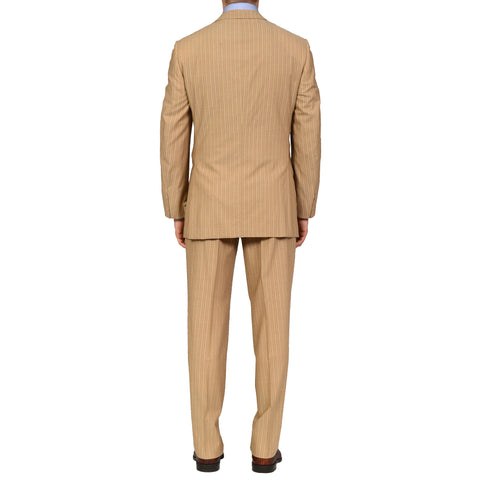D'AVENZA Roma Handmade Tan Striped Wool Super 130's Suit EU 50 NEW US 40