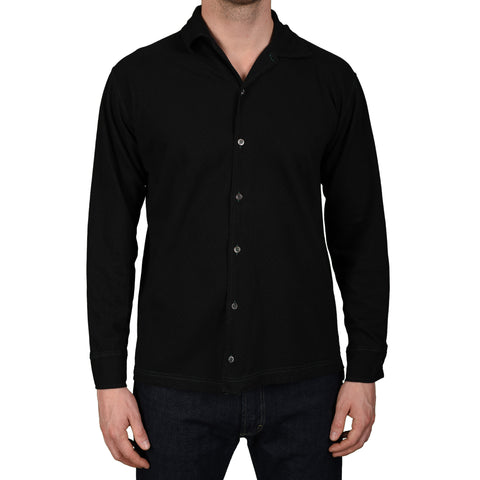 RUBINACCI Napoli Handmade Black Garment Dyed Cotton Casual Shirt NEW M