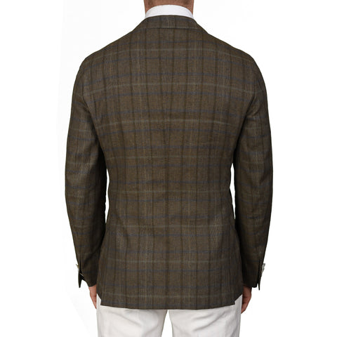 "BOGLIOLI Milano ""Dover"" Khaki Plaid Silk-Linen Unlined Blazer Jacket 50 NEW 40"