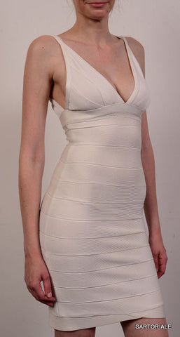 HERVE LEGER Off White Vneck Bandage Dress Size XS - SARTORIALE - 2