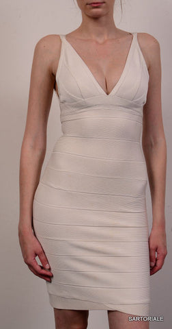HERVE LEGER Off White Vneck Bandage Dress Size XS - SARTORIALE - 1