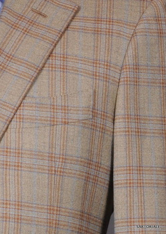 LUCIANO BARBERA SARTORIALE Beige Plaid Wool Jacket EU 50 NEW US 38 40 - SARTORIALE - 2