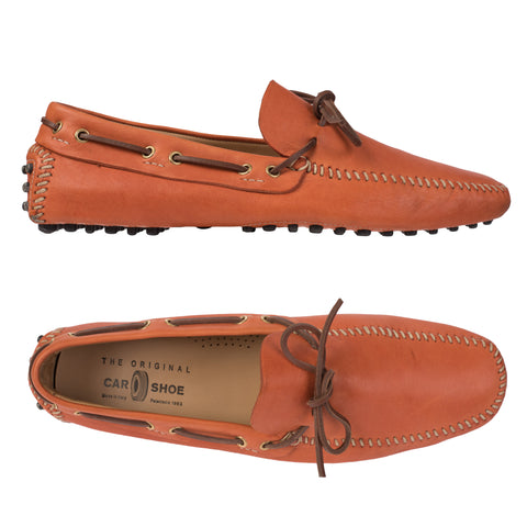 CAR SHOE Orange Leather Driving Mocassin Slip-On Shoes Loafers IT 11 US 12