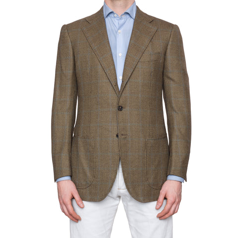 CESARE ATTOLINI Olive Prince of Wales Wool Cashmere Blazer Jacket 50 NEW US 40