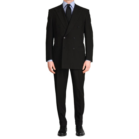 "D'AVENZA Roma Handmade Black Striped ""Techno"" DB Suit EU 50 NEW US 40"